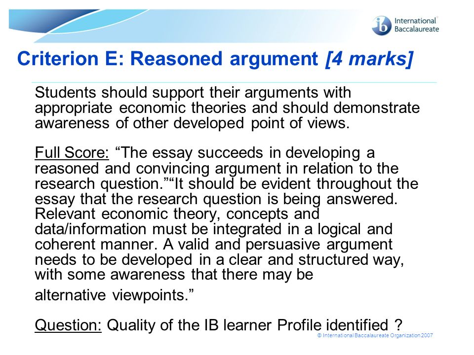 Criterion E: Reasoned argument [4 marks]